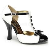 Valkoiset Mokkanahka 10 cm SMITTEN-10 Rockabilly Naisten kengät avokkaat