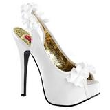 Valkoiset Satiini 14,5 cm Burlesque TEEZE-56 Korkeakorkoiset Kengät