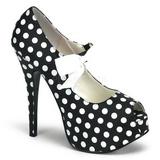 Valkoista Pistettä 14,5 cm Burlesque TEEZE-25 Musta Avokkaat Kengät