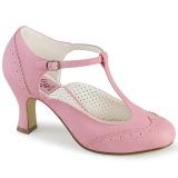 Vegaani 7,5 cm FLAPPER-26 retro vintage avokkaat kengät t-strap pinkit