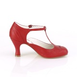 Vegaani 7,5 cm FLAPPER-26 retro vintage avokkaat kengät t-strap punainen