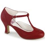 Vegaani 7,5 cm FLAPPER-26 retro vintage avokkaat kengät t-strap punaiset