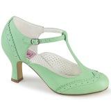 Vegaani 7,5 cm FLAPPER-26 retro vintage avokkaat kengät t-strap vihreä
