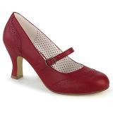 Vegaani 7,5 cm FLAPPER-32 retro vintage avokkaat kengät maryjane punaiset