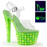 Vihreä 18 cm SKY-308UVTL Neon Platform Korkeakorkoiset Sandaalit