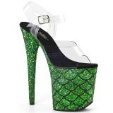 Vihreä 20 cm FLAMINGO-808MSLG kimallus platform sandaalit naisten