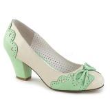 Vihreä 6,5 cm WIGGLE-17 Pinup avokkaat kengät paksu korko