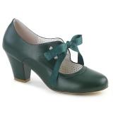 Vihreä 6,5 cm WIGGLE-32 Pinup avokkaat kengät paksu korko