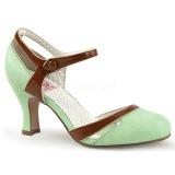 Vihreä 7,5 cm retro vintage FLAPPER-27 Pinup avokkaat kengät alhainen korot