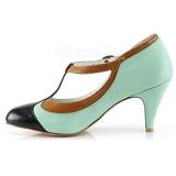 Vihreä 8 cm retro vintage PEACH-03 Pinup avokkaat kengät alhainen korot