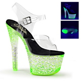 Vihreä Neon 18 cm Pleaser CRYSTALIZE-308PS Platform Sandaletit