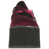 Viininpunainen Sametti 11,5 cm KERA-10 lolita kengät paksut pohjat