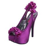Violett Satiini 14,5 cm Burlesque TEEZE-56 Korkeakorkoiset Kengät